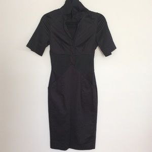 Reiss Black Fitted Collared Cotton Dress 0